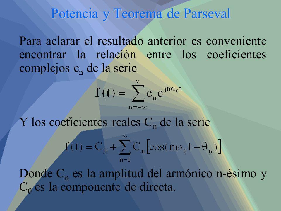Potencia y Teorema de Parseval Para aclarar el resultado anterior es conveniente encontrar la relación entre los coeficientes complejos c n de la seri