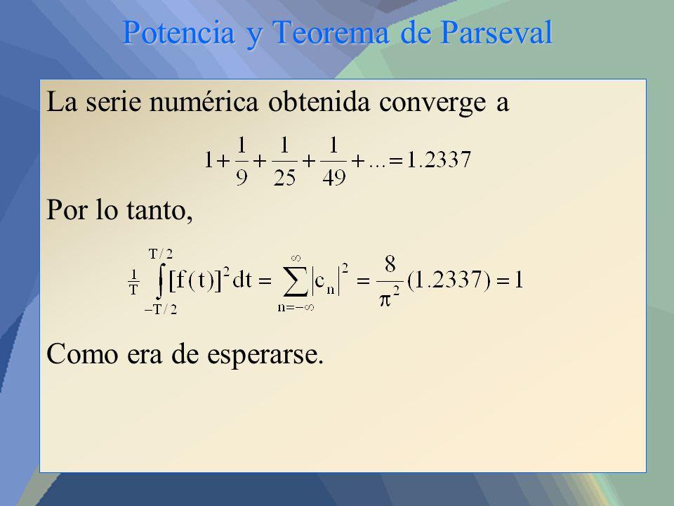 Potencia y Teorema de Parseval La serie numérica obtenida converge a Por lo tanto, Como era de esperarse.