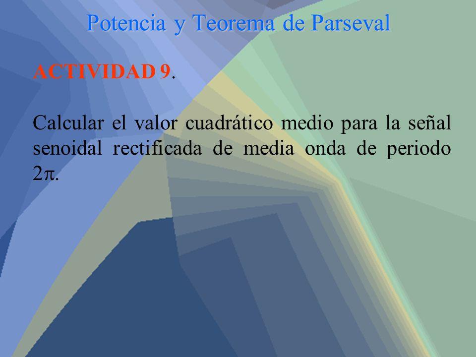 Potencia y Teorema de Parseval ACTIVIDAD 9. Calcular el valor cuadrático medio para la señal senoidal rectificada de media onda de periodo 2.