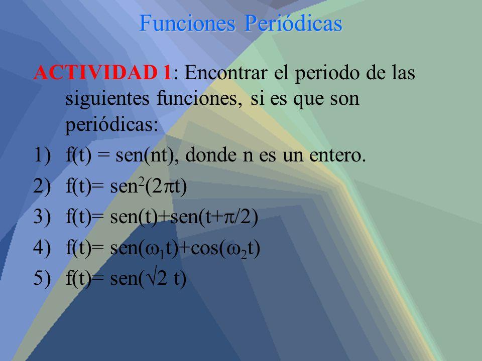 Funciones Periódicas ACTIVIDAD 1: Encontrar el periodo de las siguientes funciones, si es que son periódicas: 1)f(t) = sen(nt), donde n es un entero.