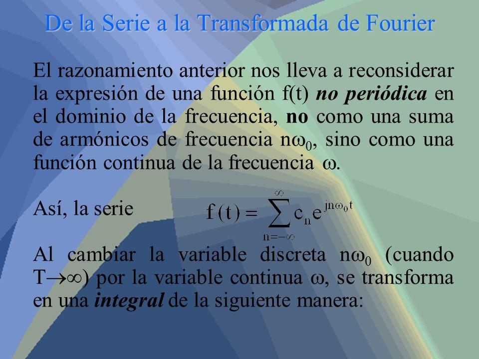 De la Serie a la Transformada de Fourier El razonamiento anterior nos lleva a reconsiderar la expresión de una función f(t) no periódica en el dominio