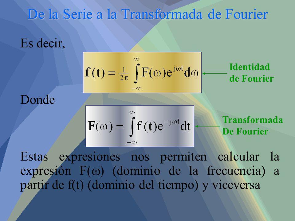 De la Serie a la Transformada de Fourier Es decir, Donde Estas expresiones nos permiten calcular la expresión F( ) (dominio de la frecuencia) a partir