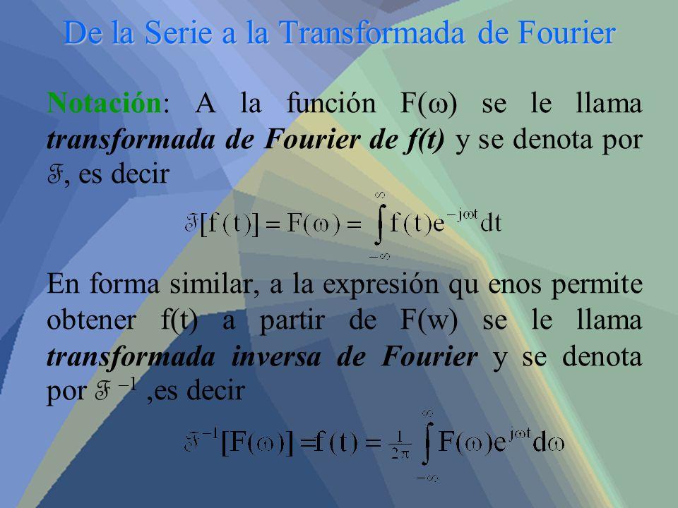De la Serie a la Transformada de Fourier Notación: A la función F( ) se le llama transformada de Fourier de f(t) y se denota por F, es decir En forma