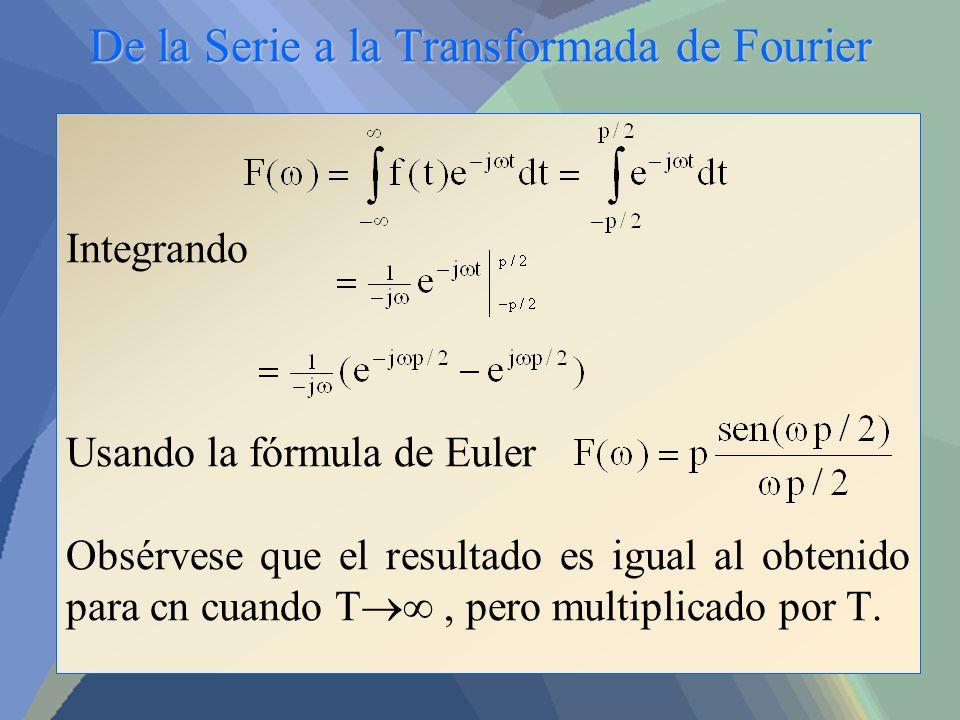 De la Serie a la Transformada de Fourier Integrando Usando la fórmula de Euler Obsérvese que el resultado es igual al obtenido para cn cuando T, pero