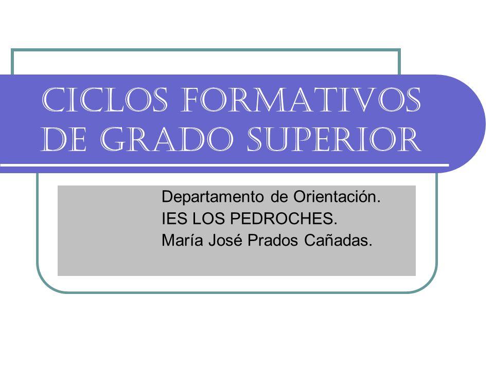 CICLOS FORMATIVOS DE GRADO SUPERIOR Departamento de Orientación. IES LOS PEDROCHES. María José Prados Cañadas.