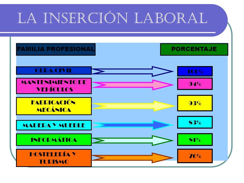 LA INSERCIÓN LABORAL FAMILIA PROFESIONALPORCENTAJE OBRA CIVIL MANTENIMIENTO DE VEHÍCULOS FABRICACIÓN MECÁNICA MADERA Y MUEBLE INFORMÁTICA 100% 94% 93%