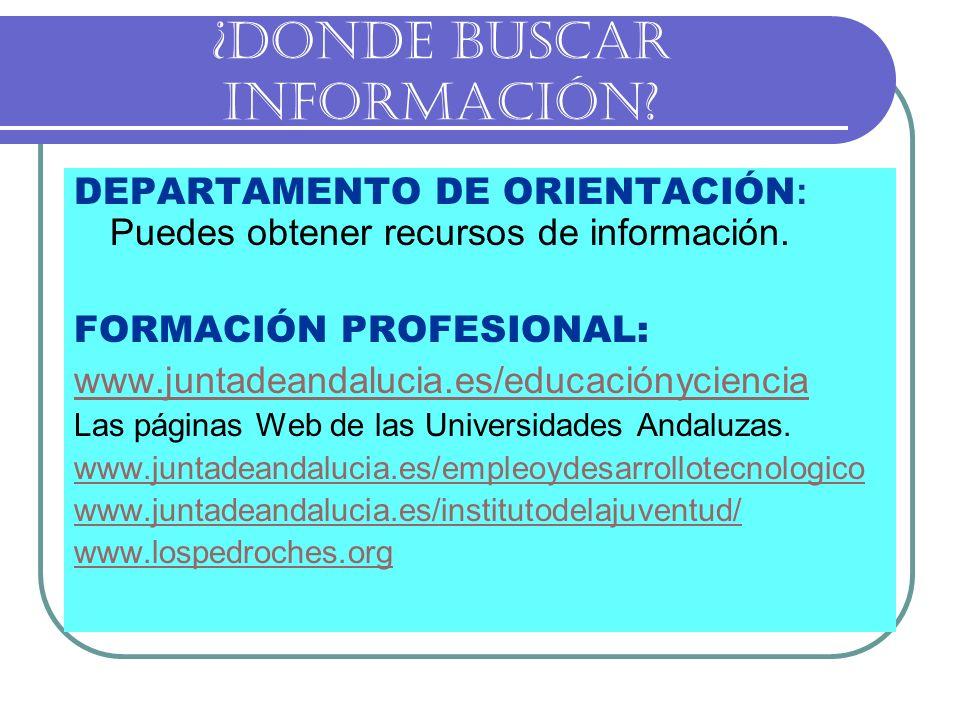 ¿DONDE BUSCAR INFORMACIÓN? DEPARTAMENTO DE ORIENTACIÓN : Puedes obtener recursos de información. FORMACIÓN PROFESIONAL: www.juntadeandalucia.es/educac