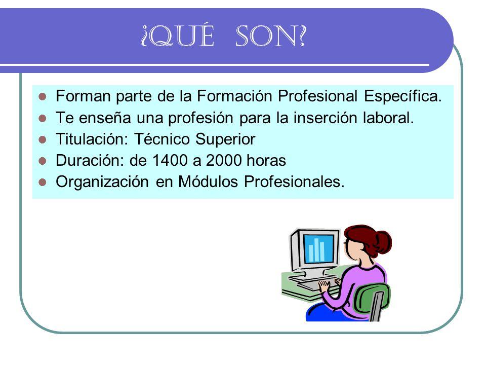 ¿QUÉ SON? Forman parte de la Formación Profesional Específica. Te enseña una profesión para la inserción laboral. Titulación: Técnico Superior Duració