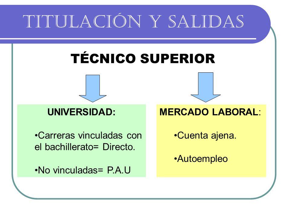 TITULACIÓN Y SALIDAS TÉCNICO SUPERIOR UNIVERSIDAD: Carreras vinculadas con el bachillerato= Directo. No vinculadas= P.A.U MERCADO LABORAL: Cuenta ajen