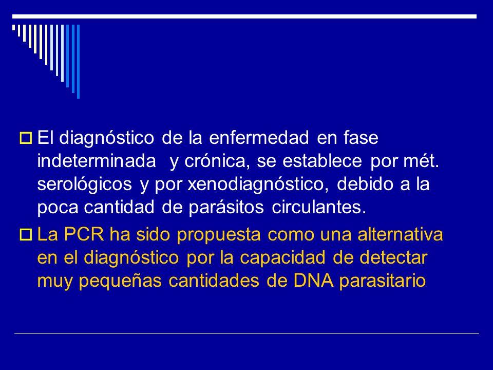 El diagnóstico de la enfermedad en fase indeterminada y crónica, se establece por mét. serológicos y por xenodiagnóstico, debido a la poca cantidad de