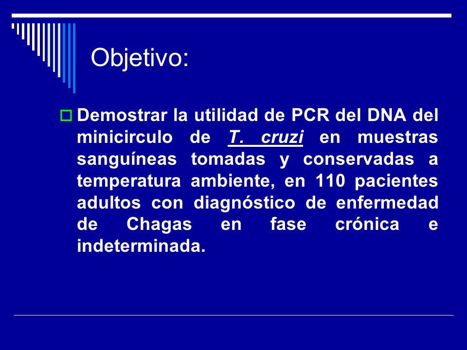 Objetivo: Demostrar la utilidad de PCR del DNA del minicirculo de T. cruzi en muestras sanguíneas tomadas y conservadas a temperatura ambiente, en 110