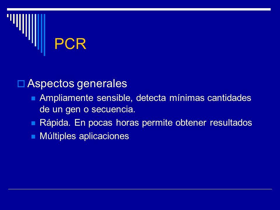 PCR Aspectos generales Ampliamente sensible, detecta mínimas cantidades de un gen o secuencia. Rápida. En pocas horas permite obtener resultados Múlti