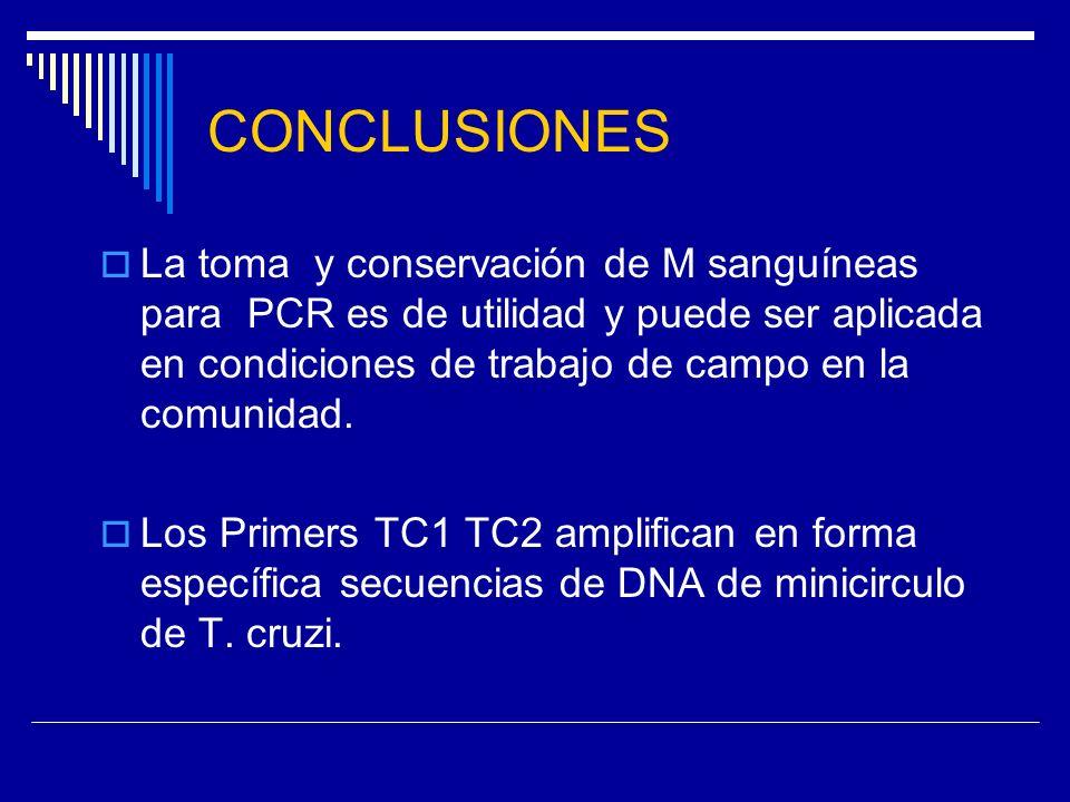 CONCLUSIONES La toma y conservación de M sanguíneas para PCR es de utilidad y puede ser aplicada en condiciones de trabajo de campo en la comunidad. L