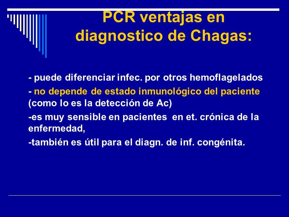 PCR ventajas en diagnostico de Chagas: - puede diferenciar infec. por otros hemoflagelados - no depende de estado inmunológico del paciente (como lo e