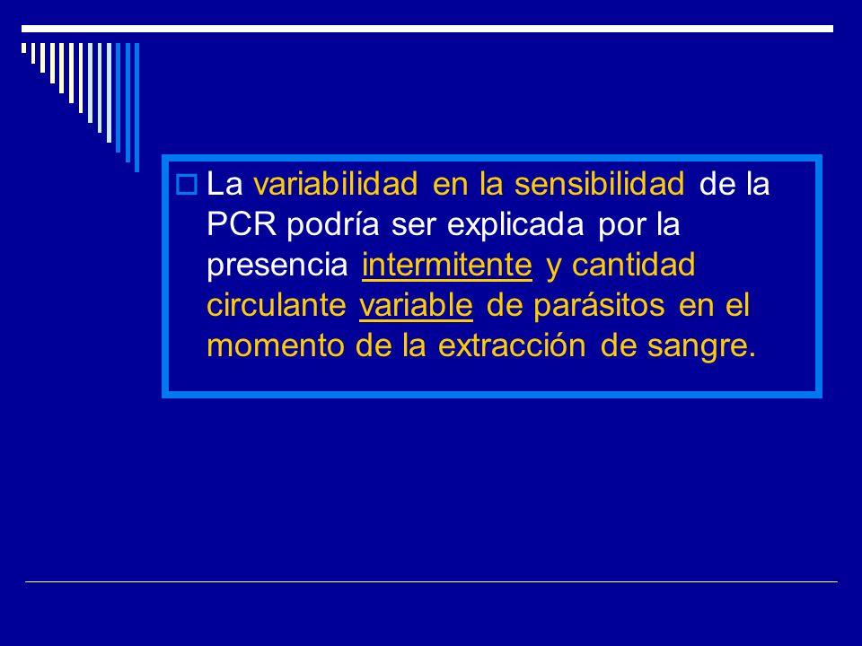 La variabilidad en la sensibilidad de la PCR podría ser explicada por la presencia intermitente y cantidad circulante variable de parásitos en el mome