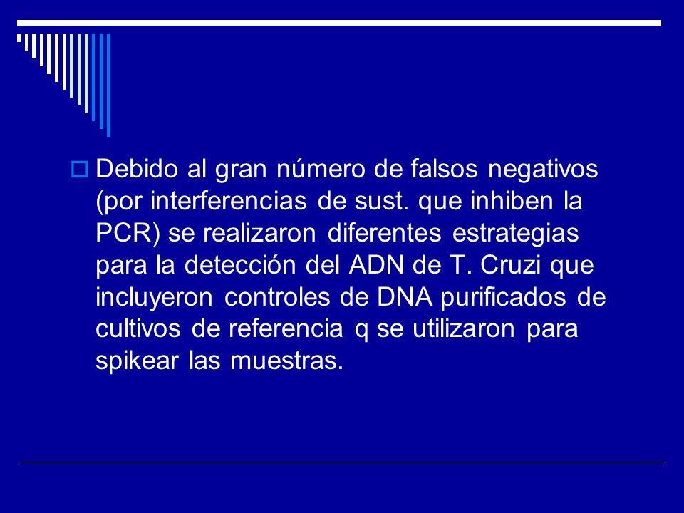 Debido al gran número de falsos negativos (por interferencias de sust. que inhiben la PCR) se realizaron diferentes estrategias para la detección del