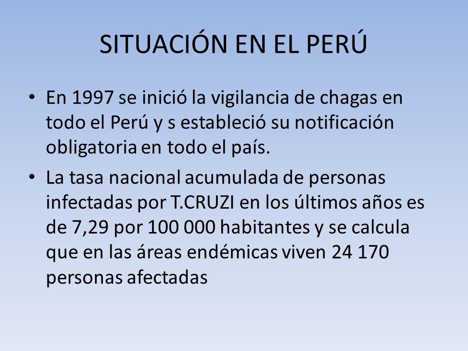 SITUACIÓN EN EL PERÚ En 1997 se inició la vigilancia de chagas en todo el Perú y s estableció su notificación obligatoria en todo el país. La tasa nac