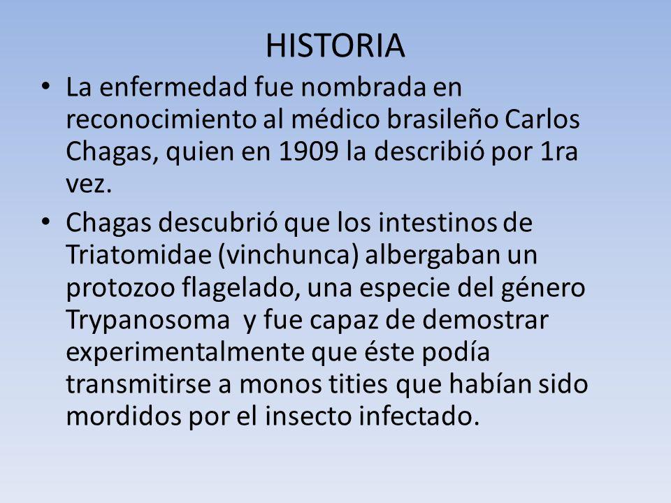 HISTORIA La enfermedad fue nombrada en reconocimiento al médico brasileño Carlos Chagas, quien en 1909 la describió por 1ra vez. Chagas descubrió que