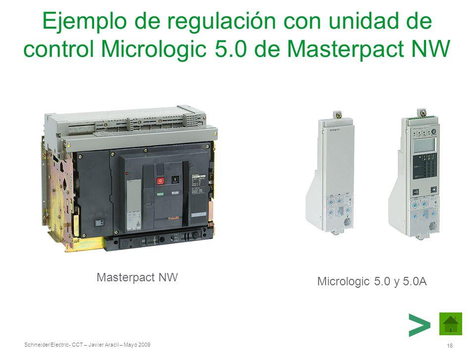Schneider Electric 16 - CCT – Javier Aracil – Mayo 2009 Ejemplo de regulación con unidad de control Micrologic 5.0 de Masterpact NW Masterpact NW Micr