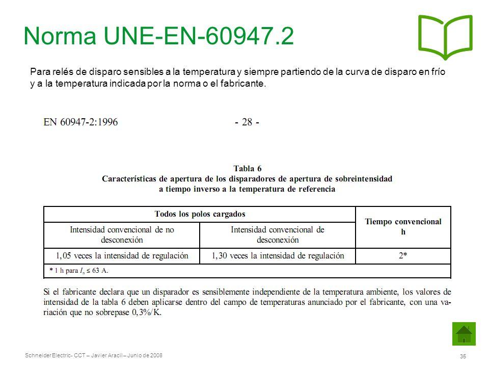 Schneider Electric 35 - CCT – Javier Aracil – Junio de 2008 Norma UNE-EN-60947.2 Para relés de disparo sensibles a la temperatura y siempre partiendo