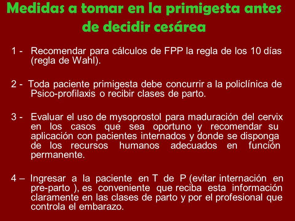 Medidas a tomar en la primigesta antes de decidir cesárea 1 - Recomendar para cálculos de FPP la regla de los 10 días (regla de Wahl). 2 - Toda pacien