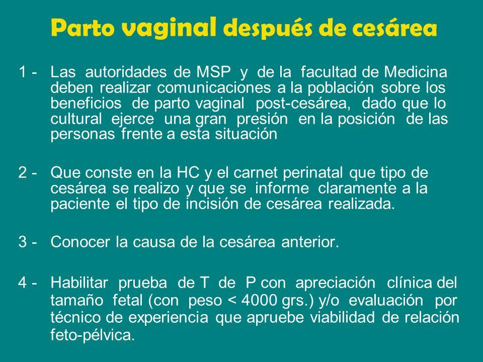 5 - Se recomienda al profesional que controla la paciente y en especial al que controla el T de P, que haga énfasis en la información a la parturienta y grupo familiar de la posibilidad del parto vía vaginal.