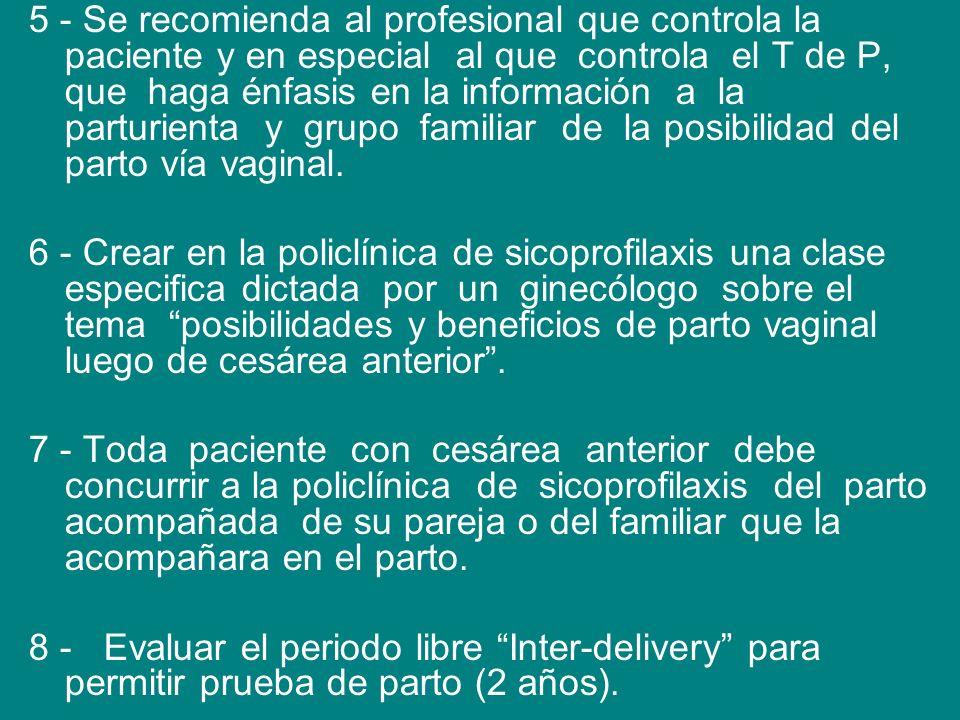 5 - Se recomienda al profesional que controla la paciente y en especial al que controla el T de P, que haga énfasis en la información a la parturienta