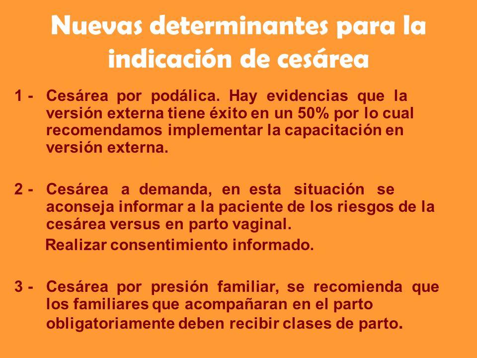 Nuevas determinantes para la indicación de cesárea 1 - Cesárea por podálica. Hay evidencias que la versión externa tiene éxito en un 50% por lo cual r