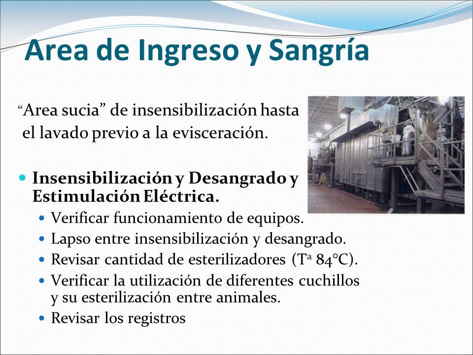 Area de Ingreso y Sangría Area sucia de insensibilización hasta el lavado previo a la evisceración. Insensibilización y Desangrado y Estimulación Eléc