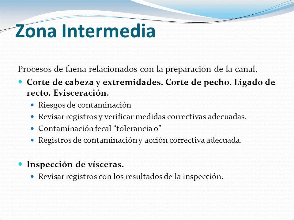 Zona Intermedia Procesos de faena relacionados con la preparación de la canal. Corte de cabeza y extremidades. Corte de pecho. Ligado de recto. Evisce