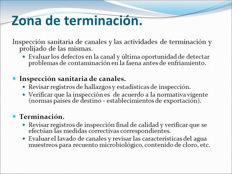 Zona de terminación. Inspección sanitaria de canales y las actividades de terminación y prolijado de las mismas. Evaluar los defectos en la canal y úl
