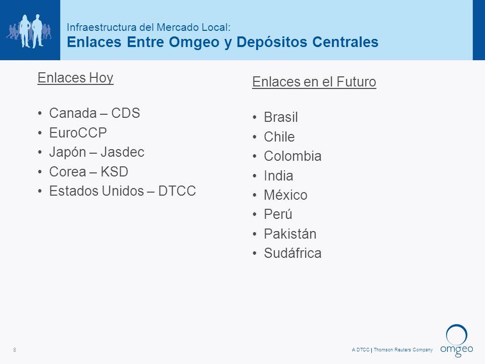 A DTCCThomson Reuters Company 8 Infraestructura del Mercado Local: Enlaces Entre Omgeo y Depósitos Centrales Enlaces Hoy Canada – CDS EuroCCP Japón – Jasdec Corea – KSD Estados Unidos – DTCC Enlaces en el Futuro Brasil Chile Colombia India México Perú Pakistán Sudáfrica