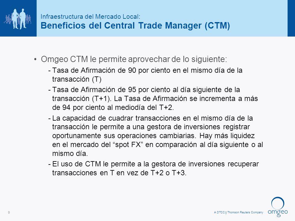 A DTCCThomson Reuters Company 9 Infraestructura del Mercado Local: Beneficios del Central Trade Manager (CTM) Omgeo CTM le permite aprovechar de lo siguiente: -Tasa de Afirmación de 90 por ciento en el mismo día de la transacción (T) -Tasa de Afirmación de 95 por ciento al día siguiente de la transacción (T+1).