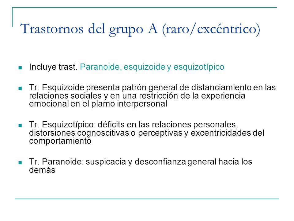 Trastornos del grupo A (raro/excéntrico) Incluye trast. Paranoide, esquizoide y esquizotípico Tr. Esquizoide presenta patrón general de distanciamient