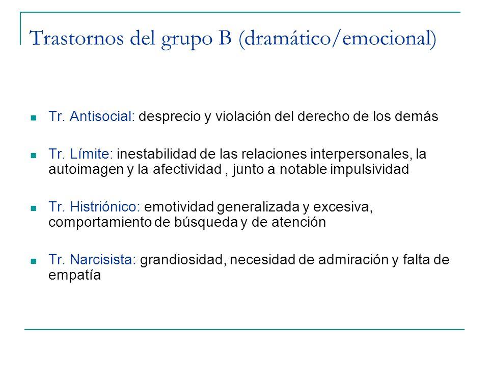 Trastornos del grupo B (dramático/emocional) Tr. Antisocial: desprecio y violación del derecho de los demás Tr. Límite: inestabilidad de las relacione