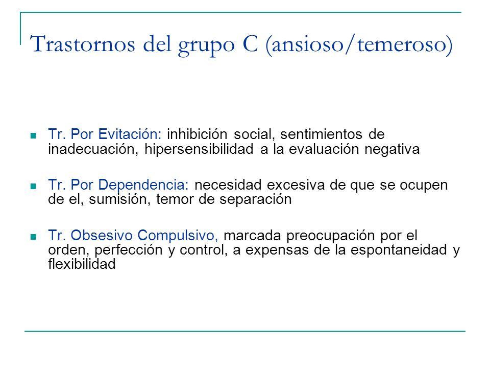 Trastornos del grupo C (ansioso/temeroso) Tr. Por Evitación: inhibición social, sentimientos de inadecuación, hipersensibilidad a la evaluación negati