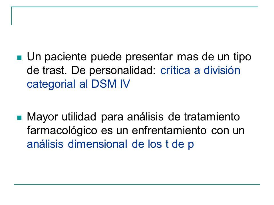 Un paciente puede presentar mas de un tipo de trast. De personalidad: crítica a división categorial al DSM IV Mayor utilidad para análisis de tratamie