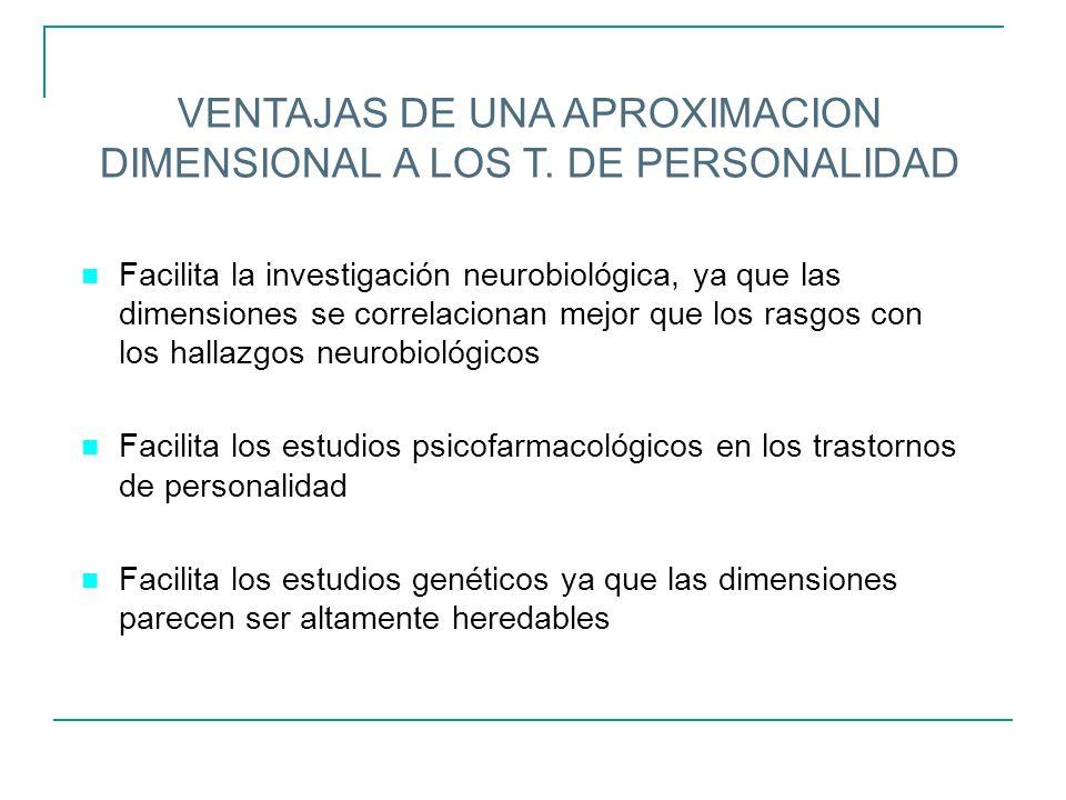 VENTAJAS DE UNA APROXIMACION DIMENSIONAL A LOS T. DE PERSONALIDAD n Facilita la investigación neurobiológica, ya que las dimensiones se correlacionan