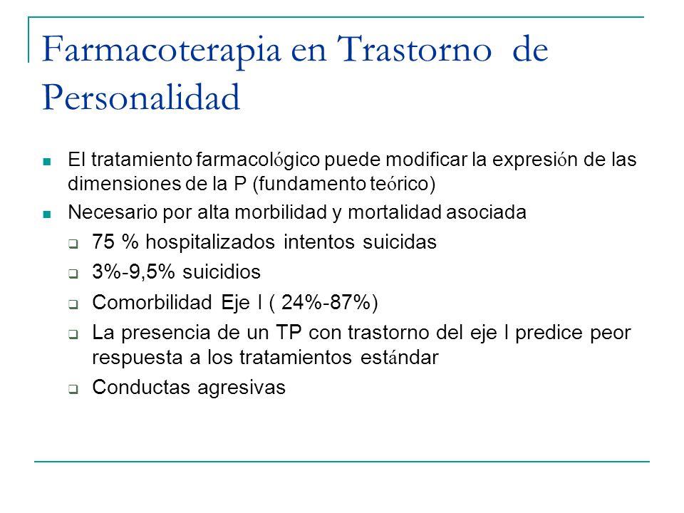 Farmacoterapia en Trastorno de Personalidad El tratamiento farmacol ó gico puede modificar la expresi ó n de las dimensiones de la P (fundamento te ó
