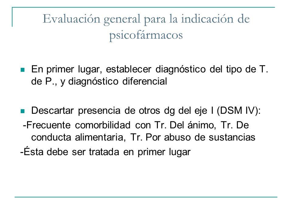 Evaluación general para la indicación de psicofármacos En primer lugar, establecer diagnóstico del tipo de T. de P., y diagnóstico diferencial Descart