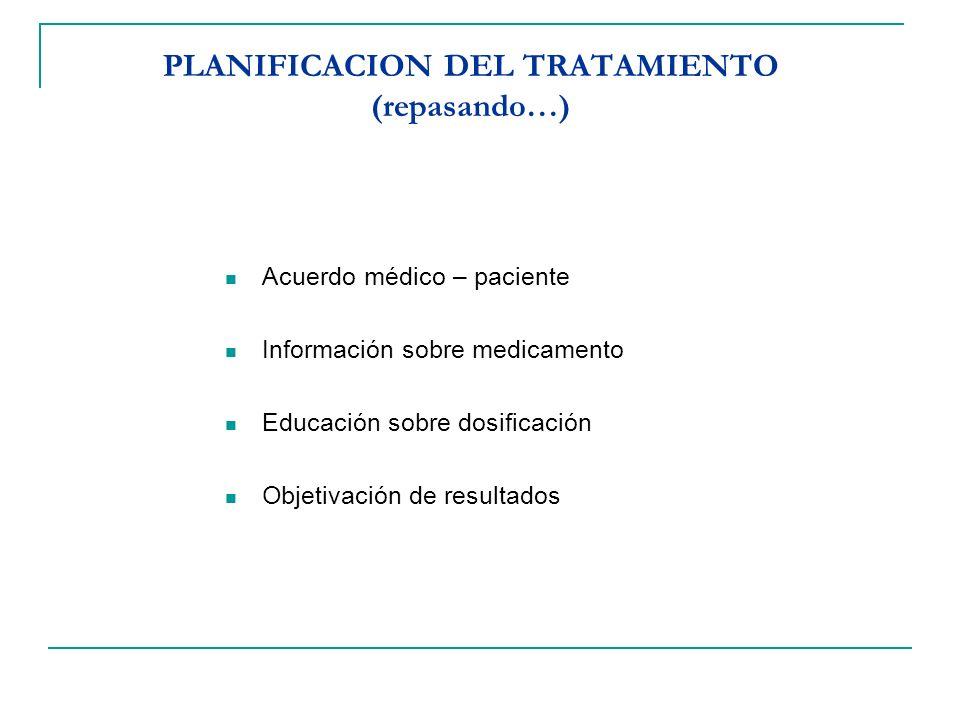 PLANIFICACION DEL TRATAMIENTO (repasando…) Acuerdo médico – paciente Información sobre medicamento Educación sobre dosificación Objetivación de result