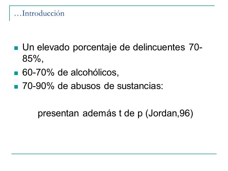 …Introducción Un elevado porcentaje de delincuentes 70- 85%, 60-70% de alcohólicos, 70-90% de abusos de sustancias: presentan además t de p (Jordan,96