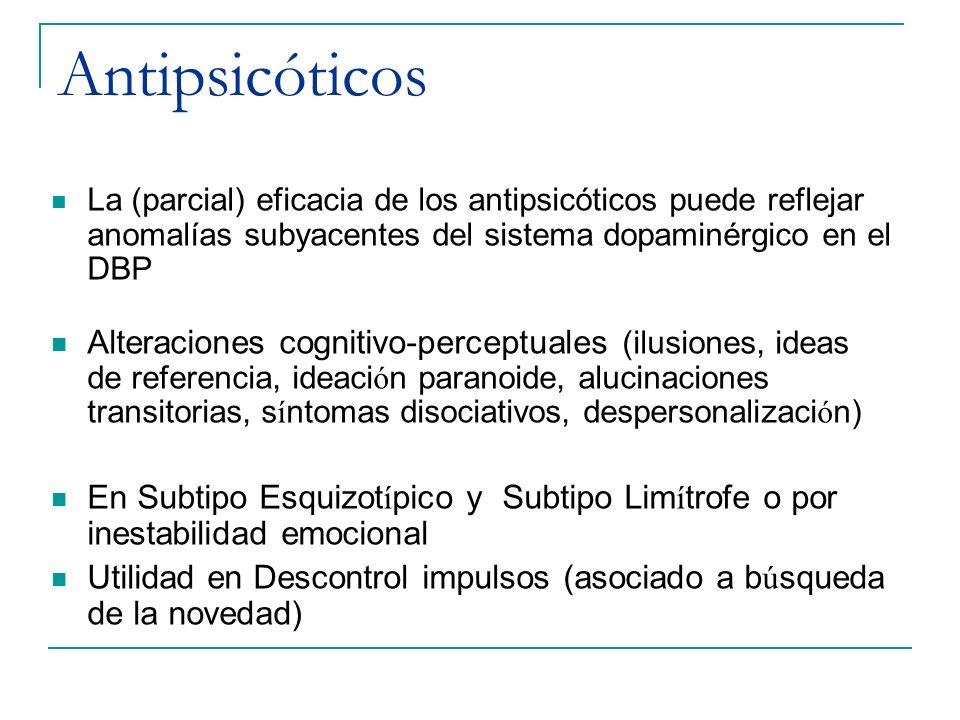 Antipsicóticos La (parcial) eficacia de los antipsicóticos puede reflejar anomalías subyacentes del sistema dopaminérgico en el DBP Alteraciones cogni