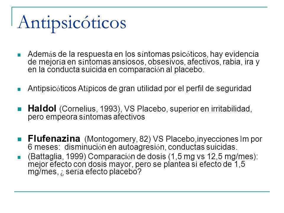 Antipsicóticos Adem á s de la respuesta en los s í ntomas psic ó ticos, hay evidencia de mejor í a en s í ntomas ansiosos, obsesivos, afectivos, rabia