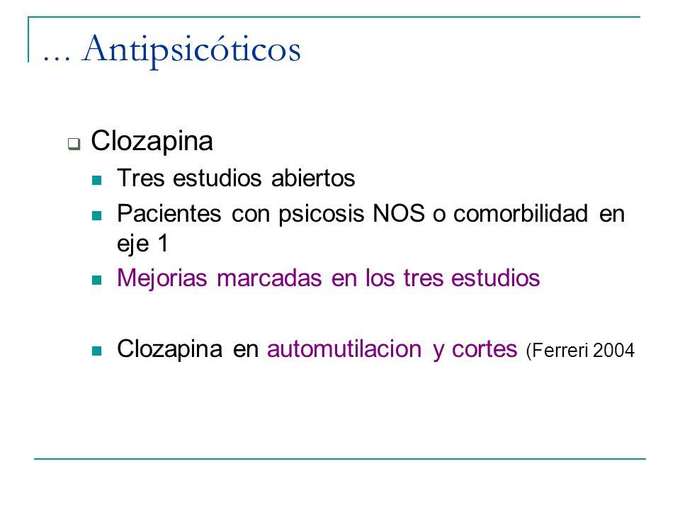 … Antipsicóticos Clozapina Tres estudios abiertos Pacientes con psicosis NOS o comorbilidad en eje 1 Mejorias marcadas en los tres estudios Clozapina