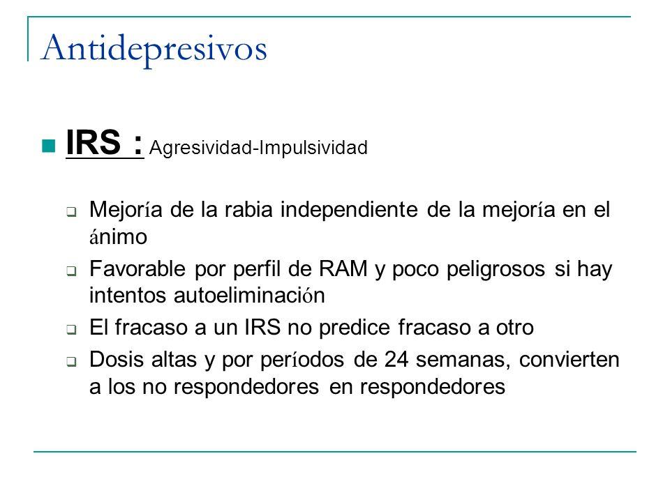 Antidepresivos IRS : Agresividad-Impulsividad Mejor í a de la rabia independiente de la mejor í a en el á nimo Favorable por perfil de RAM y poco peli