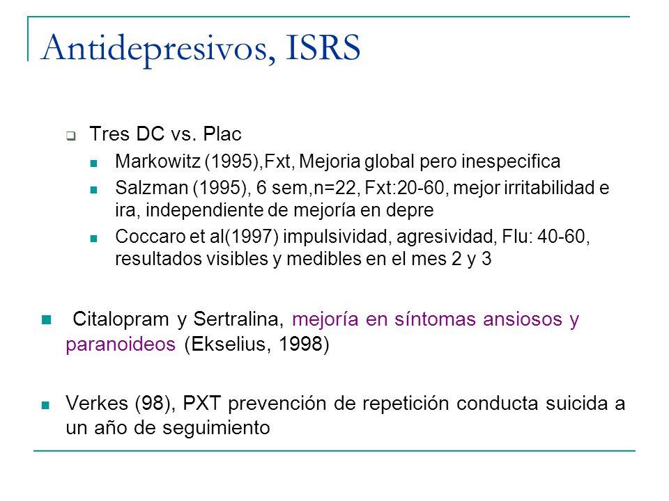 Antidepresivos, ISRS Tres DC vs. Plac Markowitz (1995),Fxt, Mejoria global pero inespecifica Salzman (1995), 6 sem,n=22, Fxt:20-60, mejor irritabilida