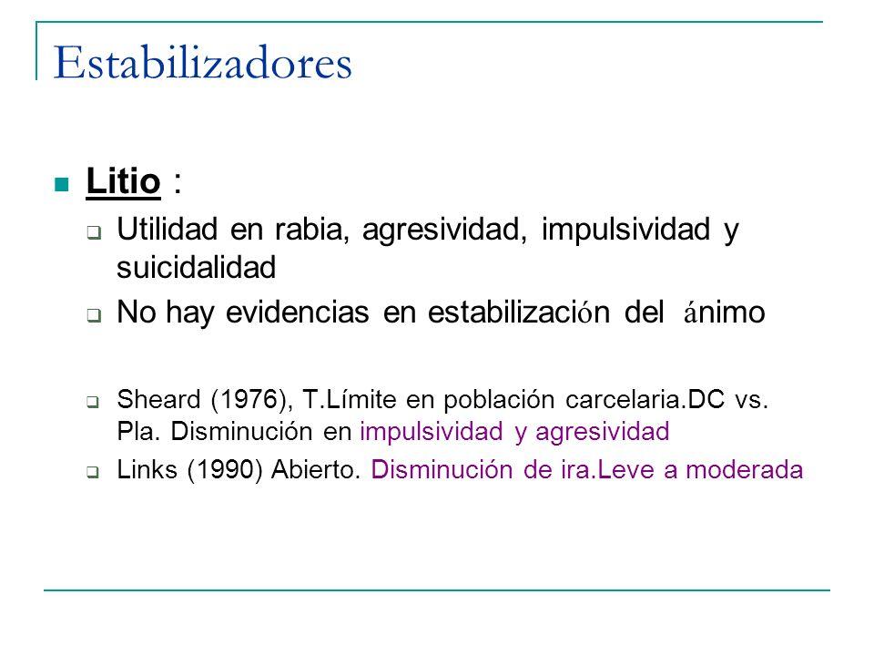 Estabilizadores Litio : Utilidad en rabia, agresividad, impulsividad y suicidalidad No hay evidencias en estabilizaci ó n del á nimo Sheard (1976), T.