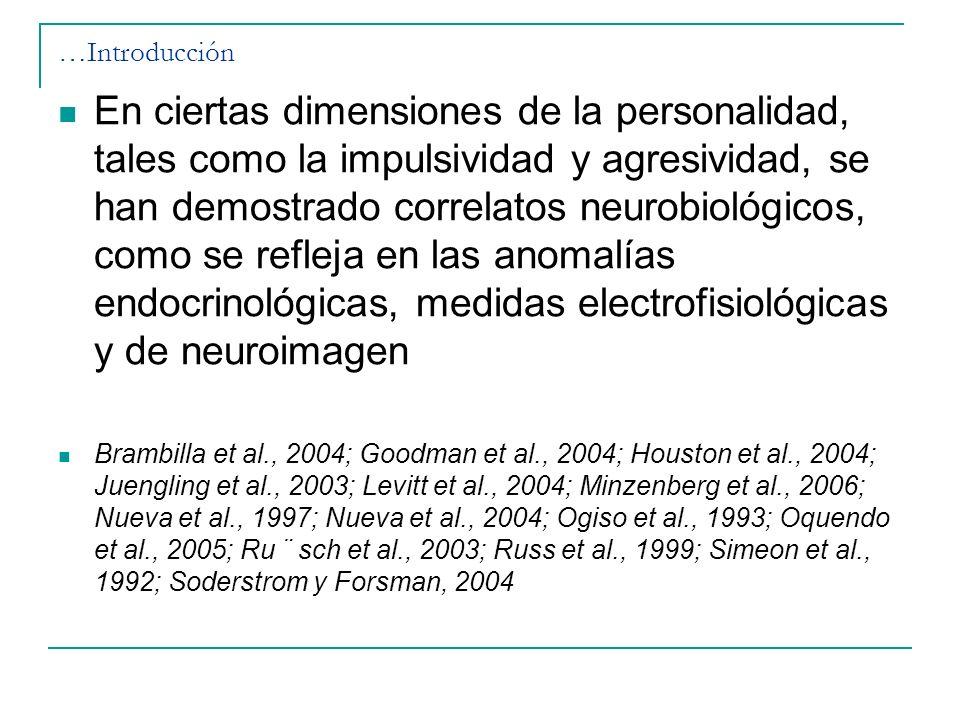 …Introducción En ciertas dimensiones de la personalidad, tales como la impulsividad y agresividad, se han demostrado correlatos neurobiológicos, como