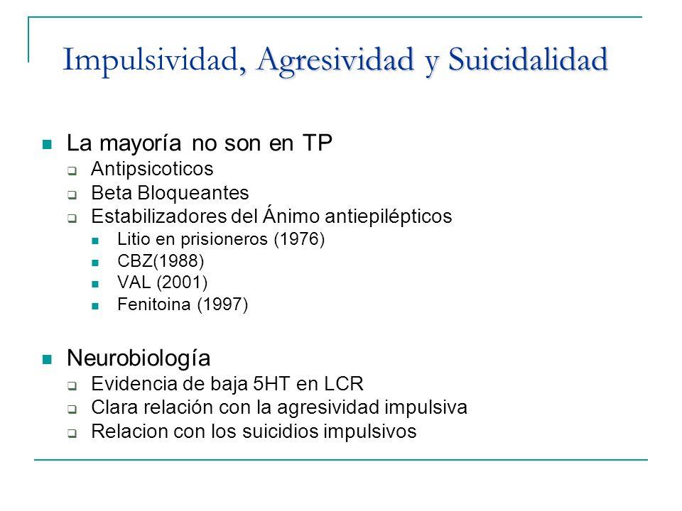 , Agresividad y Suicidalidad Impulsividad, Agresividad y Suicidalidad La mayoría no son en TP Antipsicoticos Beta Bloqueantes Estabilizadores del Ánim